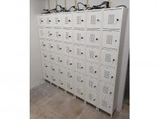 Locker system for 6 trolley-batteries<br>standing version