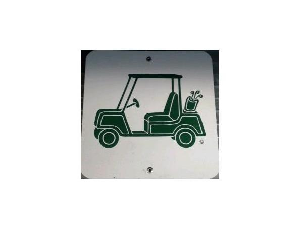 Plastic info sign <br>CARTS ON PATH