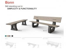 BONN recycled plastic bench 180 cm<br>flat model without back - BROWN