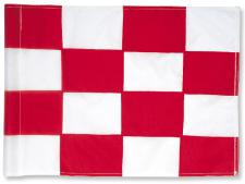 Checkered nylon flags<br>Red/white (set of 9 pcs)
